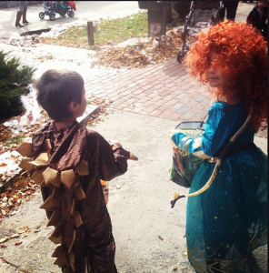 Merida and the stegosauras